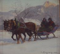 Haus Enzinger, um 1889-1972, hier: Pferdekutsche mit zwei