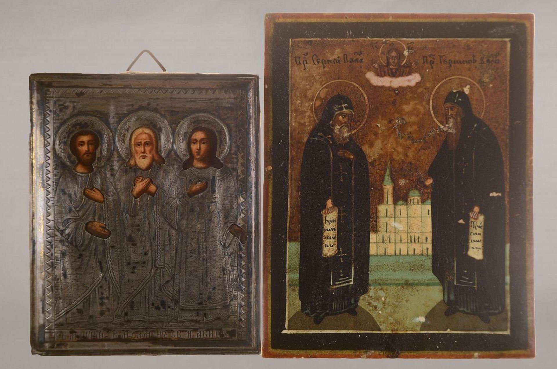 Zwei Miniaturikonen und eine Ikone, Russland, um 1880, 1x - Bild 2 aus 2