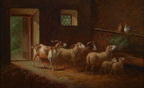 Adolf Nowey, geb. um 1835, Stallinterieur, Ziegenbock,
