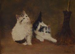 John, Künstler um 1900/20, Katzenpaar, Öl/Holz, re. unten