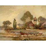 Ernst Jensen, 1863-1933, Seeuferlandschaft mit