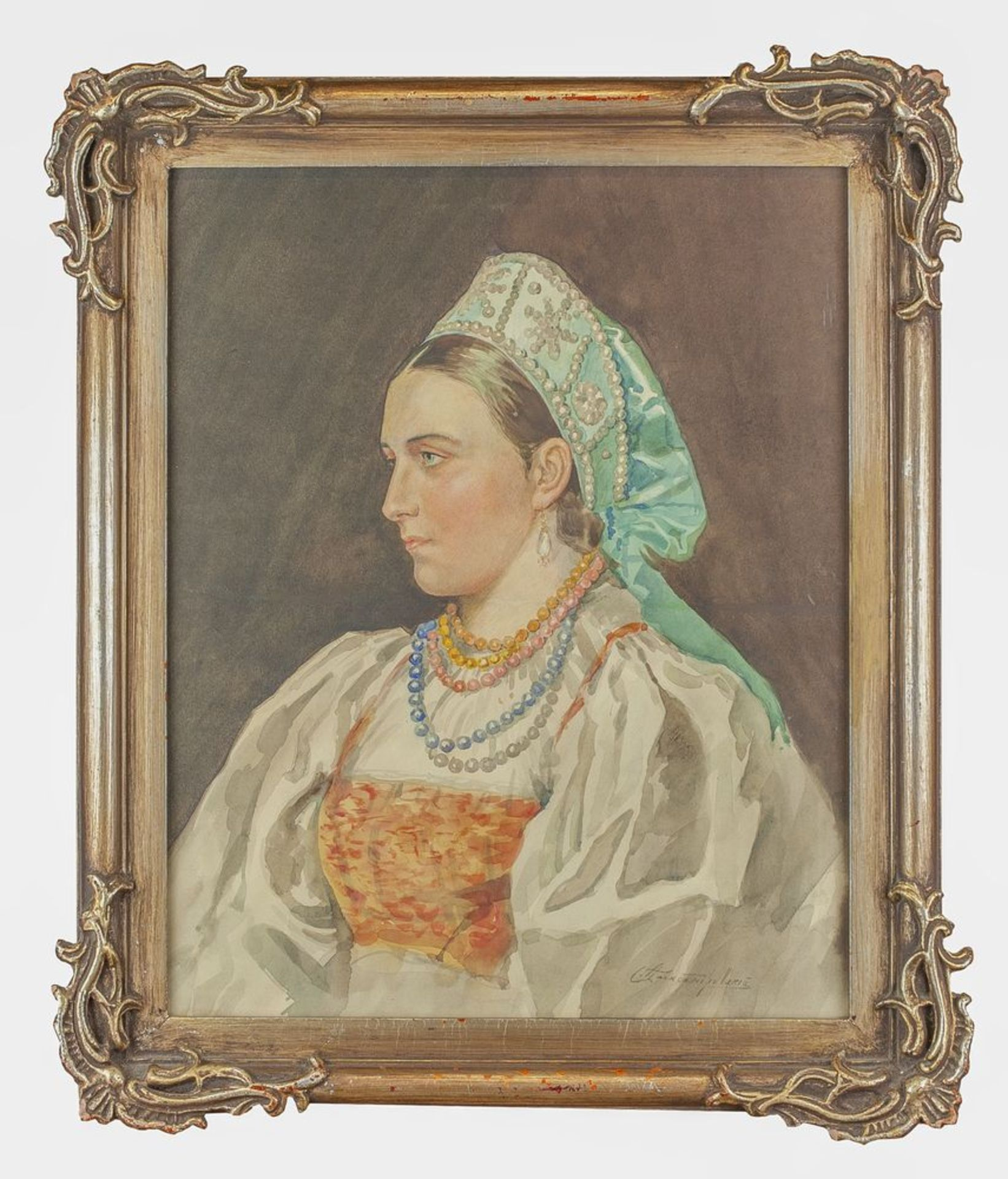 Los 34 - Stepan Alexandrovsky (1842-1906) - Portrait of a young Russian girl Signed in [...]