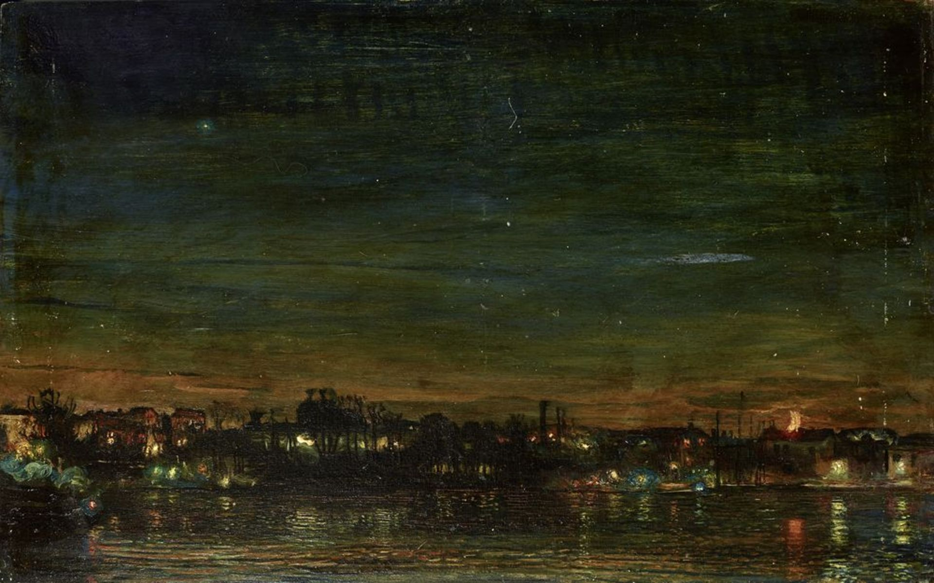 Los 32 - ISAAC IZRAILEVICH BRODSKY (1883-1939) - Night in a lacustry landscape (Night [...]