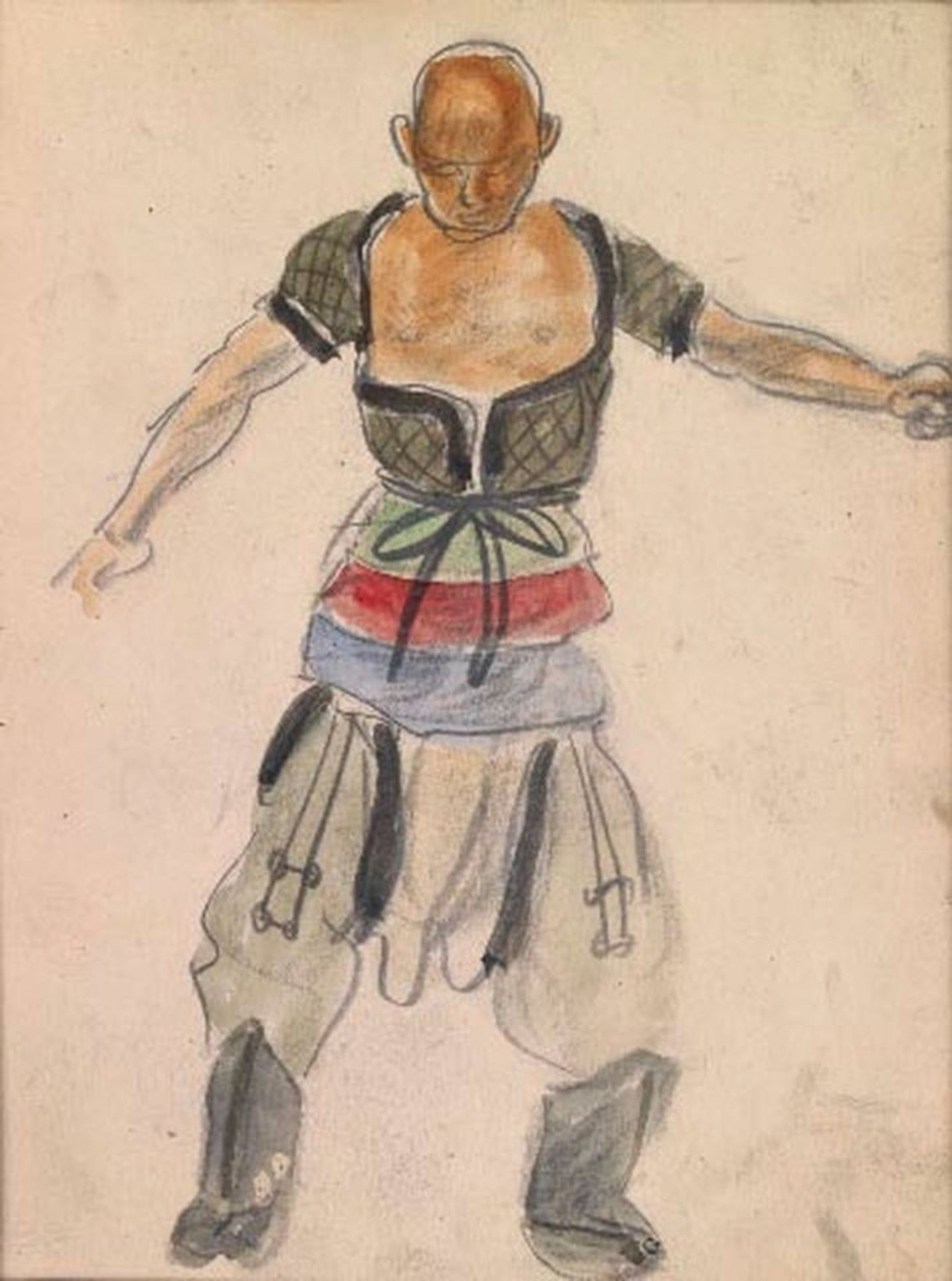 Los 47 - ALEXANDER YAKOVLEV (1887-1938) - Two sketches of Chinese Wrestlers Each variously [...]
