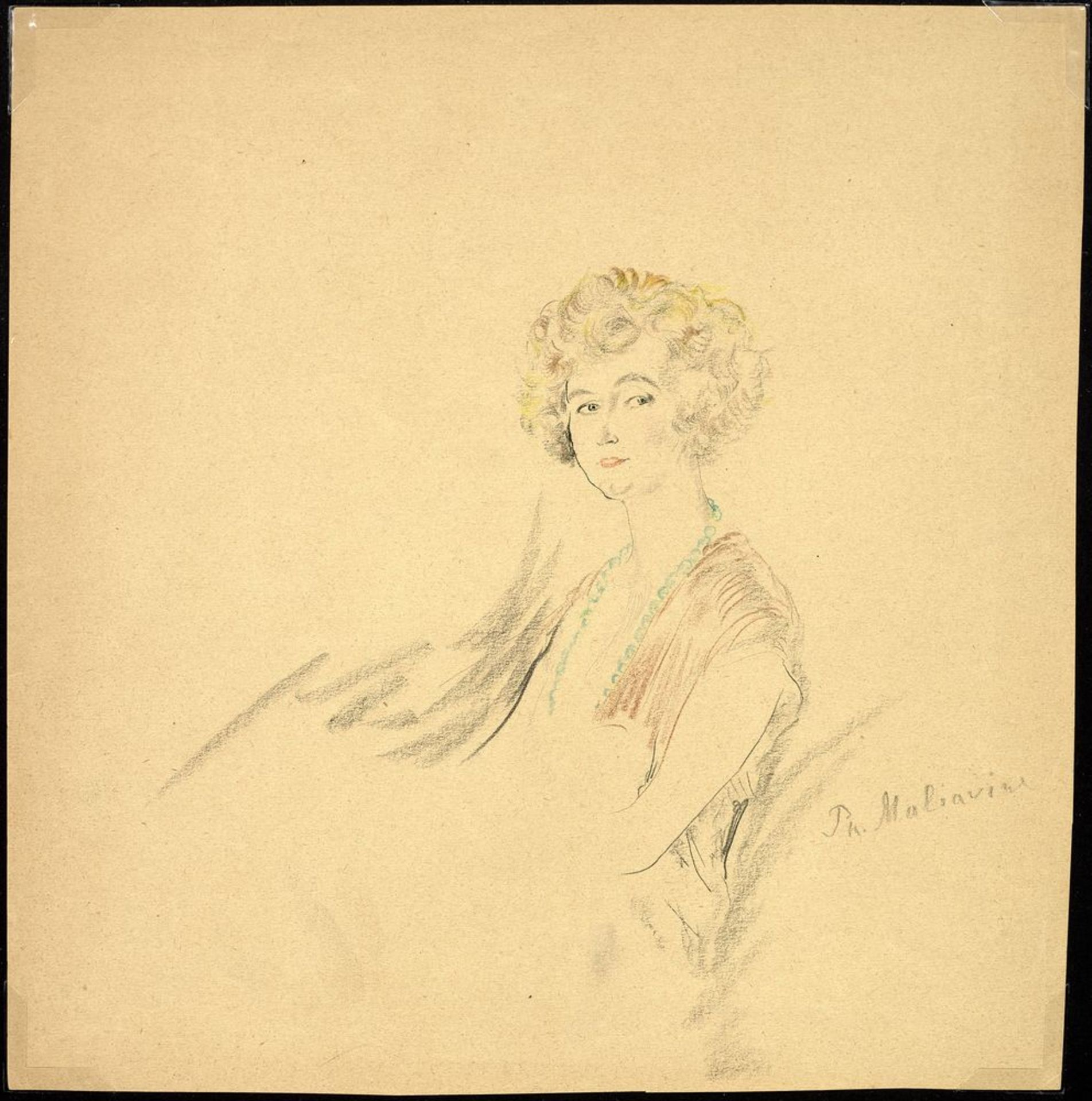 Los 28 - FILIPP MALYAVIN (1869-1940) - Five Female Portraits Each signed pencil, crayon on [...]