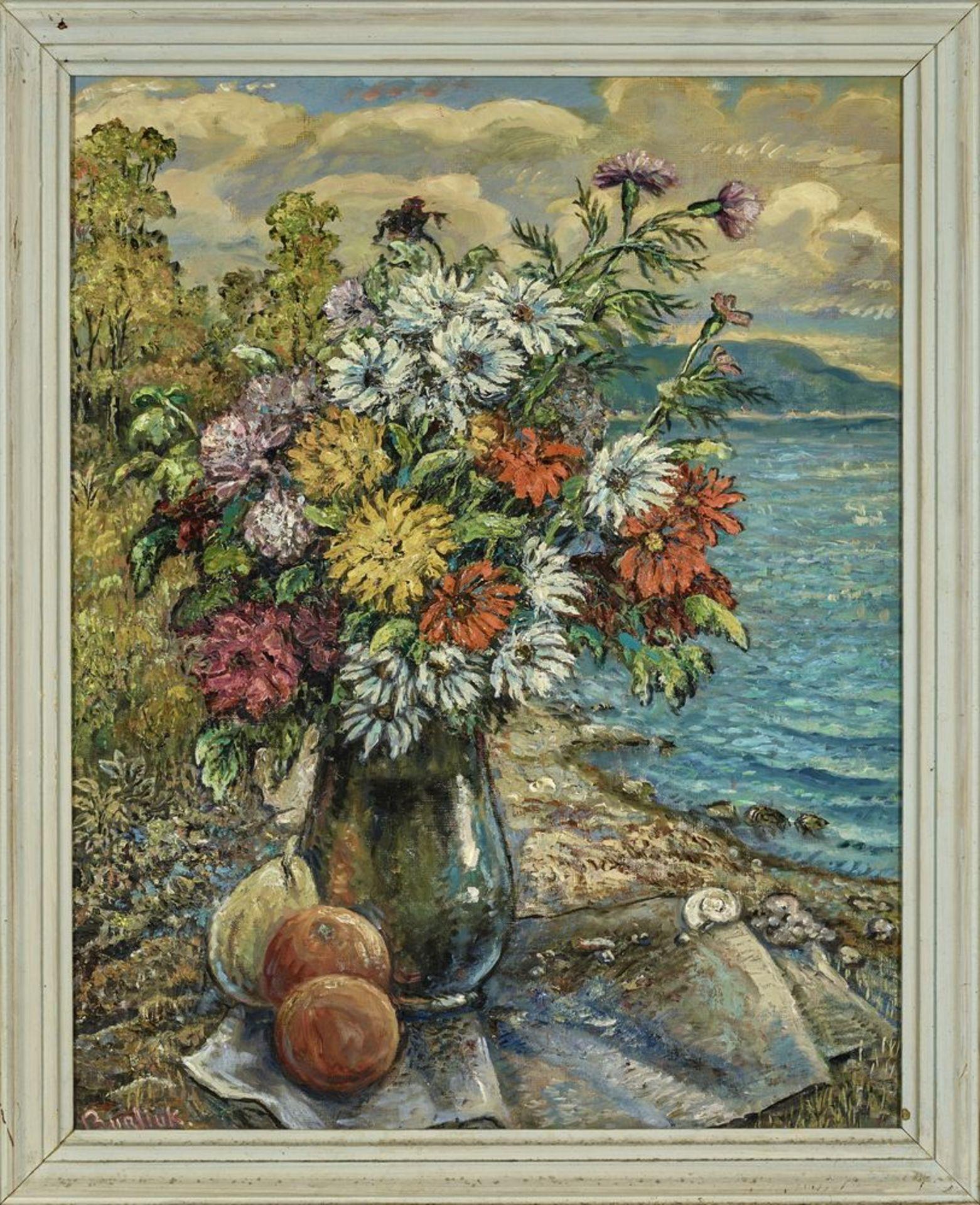 Los 24 - David Burliuk (1882 – 1967) - Flowers and fruits on a beach Signed 'Burliuk' [...]