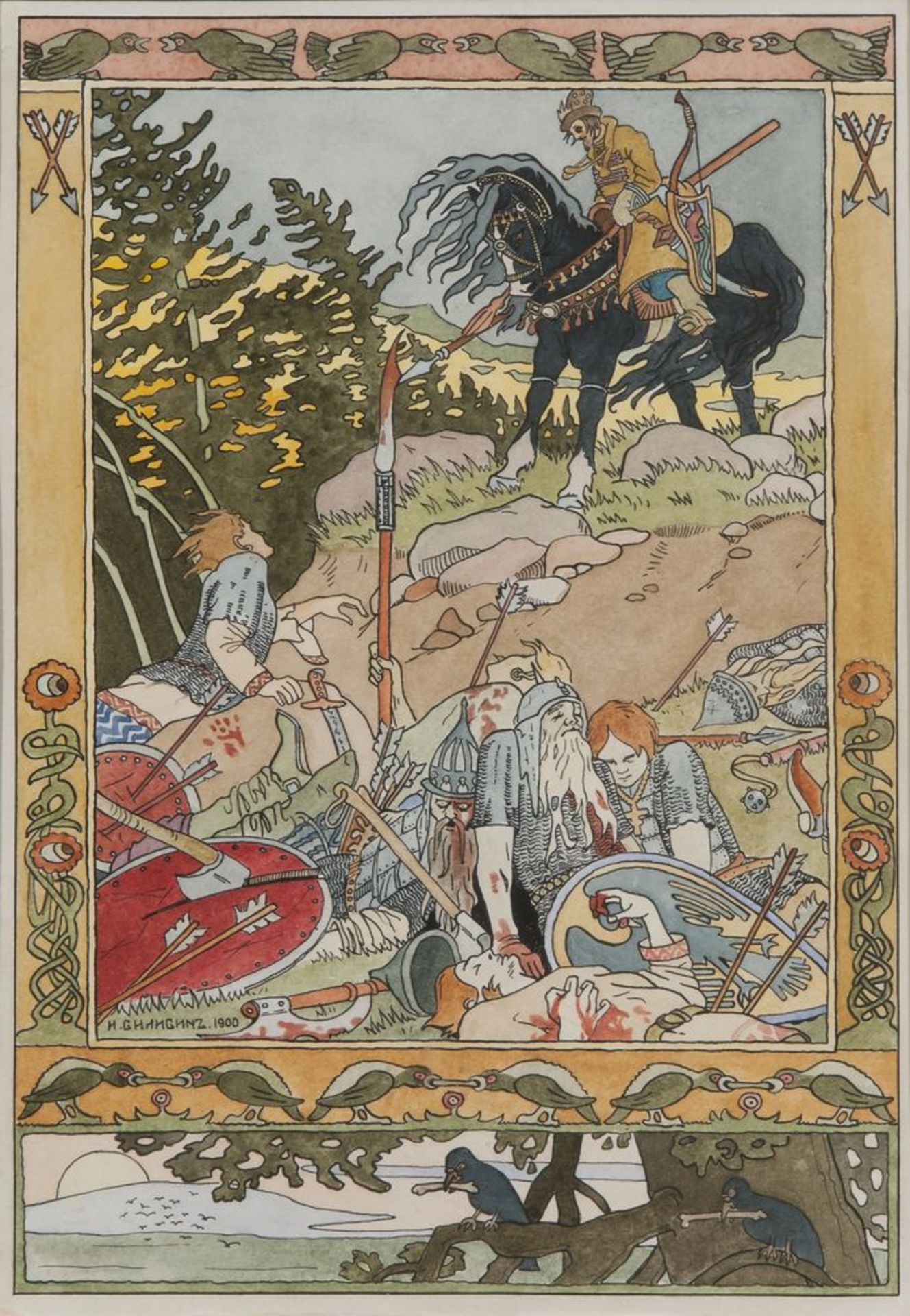 Los 16 - Ivan Bilibin (1876-1942) - The force is beaten - Ivan Tsarevich and soldiers. [...]