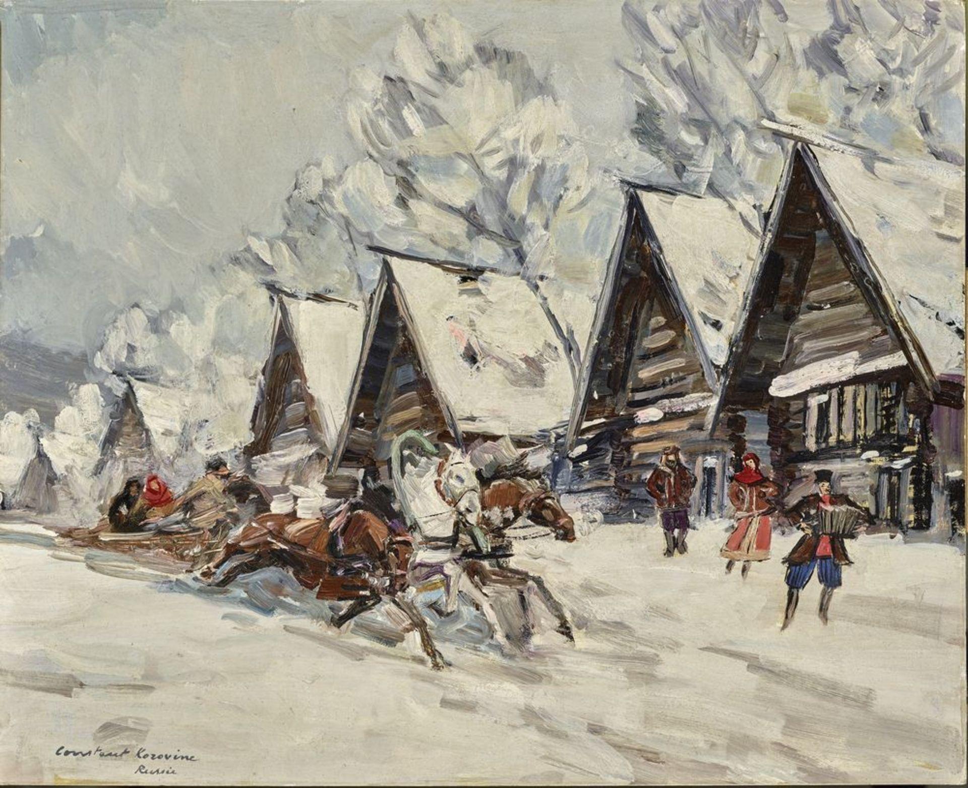 Los 6 - Konstantin Alekseyevich Korovin (1861-1939) - Troika in a Russian village Signed [...]