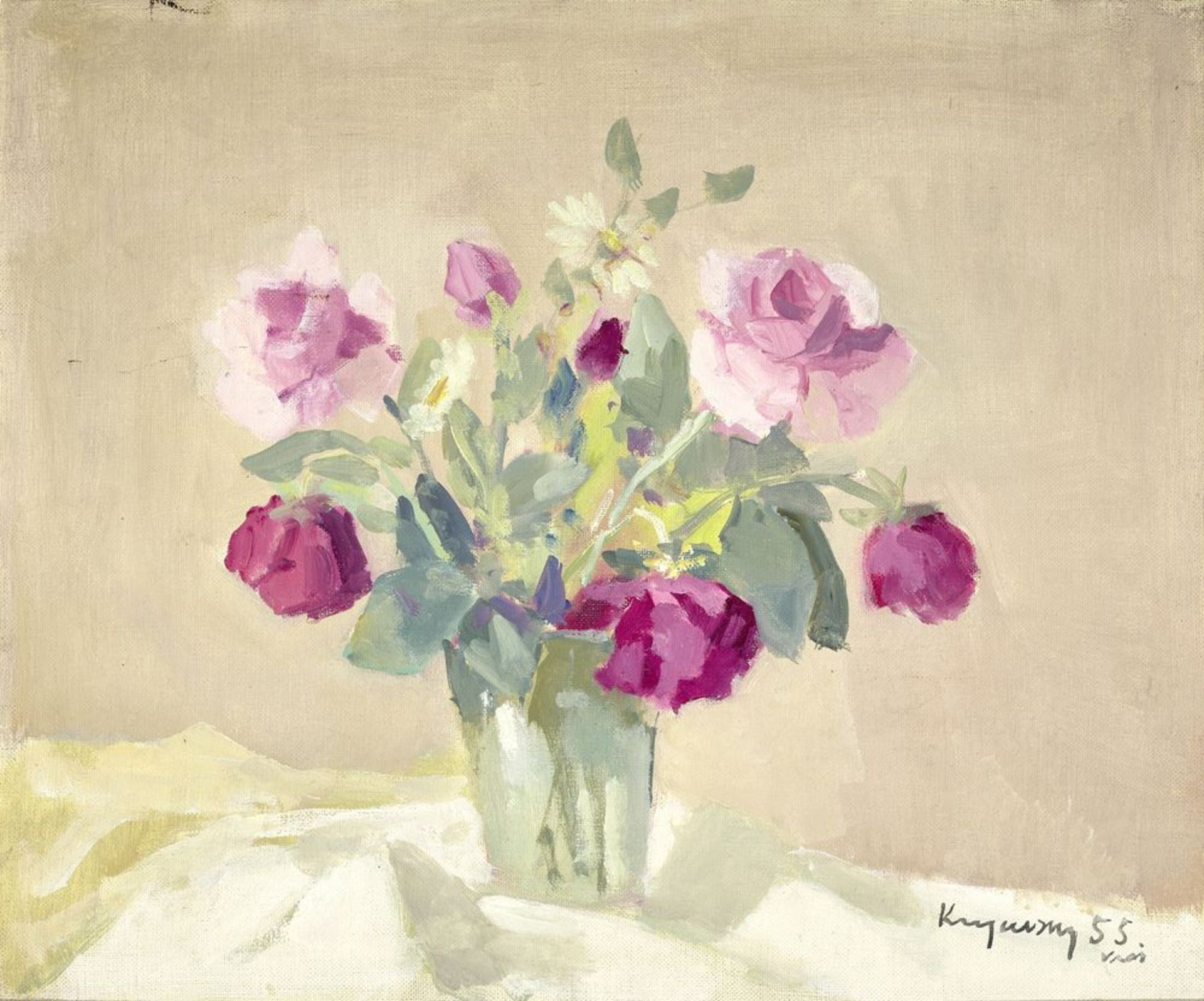 Los 56 - Nicholas (Mykola Vasyl) KRYCHEVSKY (1898-1961) - Bouquet of roses Signed and dated [...]