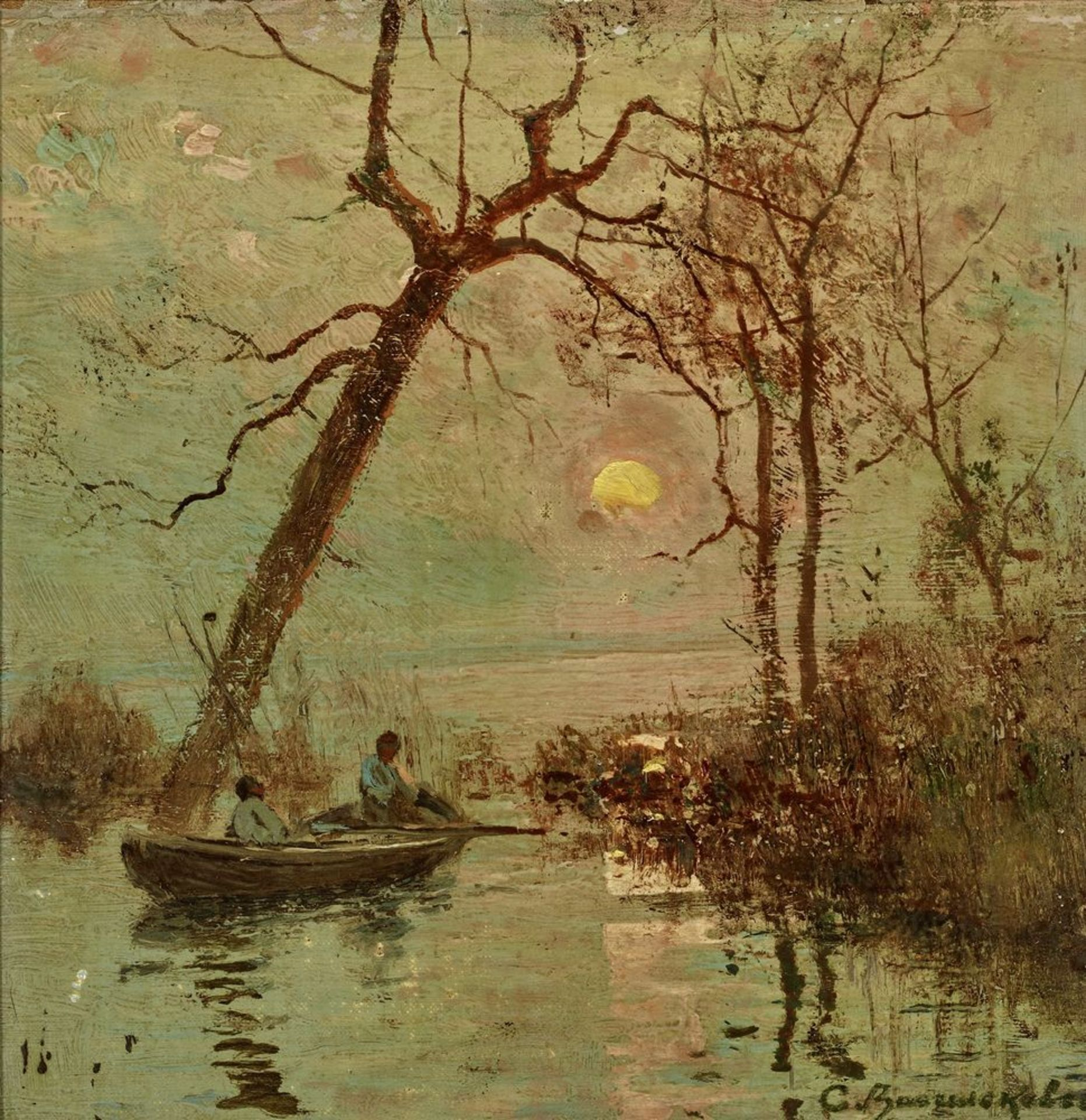 Los 33 - Sergey Ivanovich Vasilkovsky (1854-1917) - Sunset on the Dnieper Signed in Cyrillic [...]