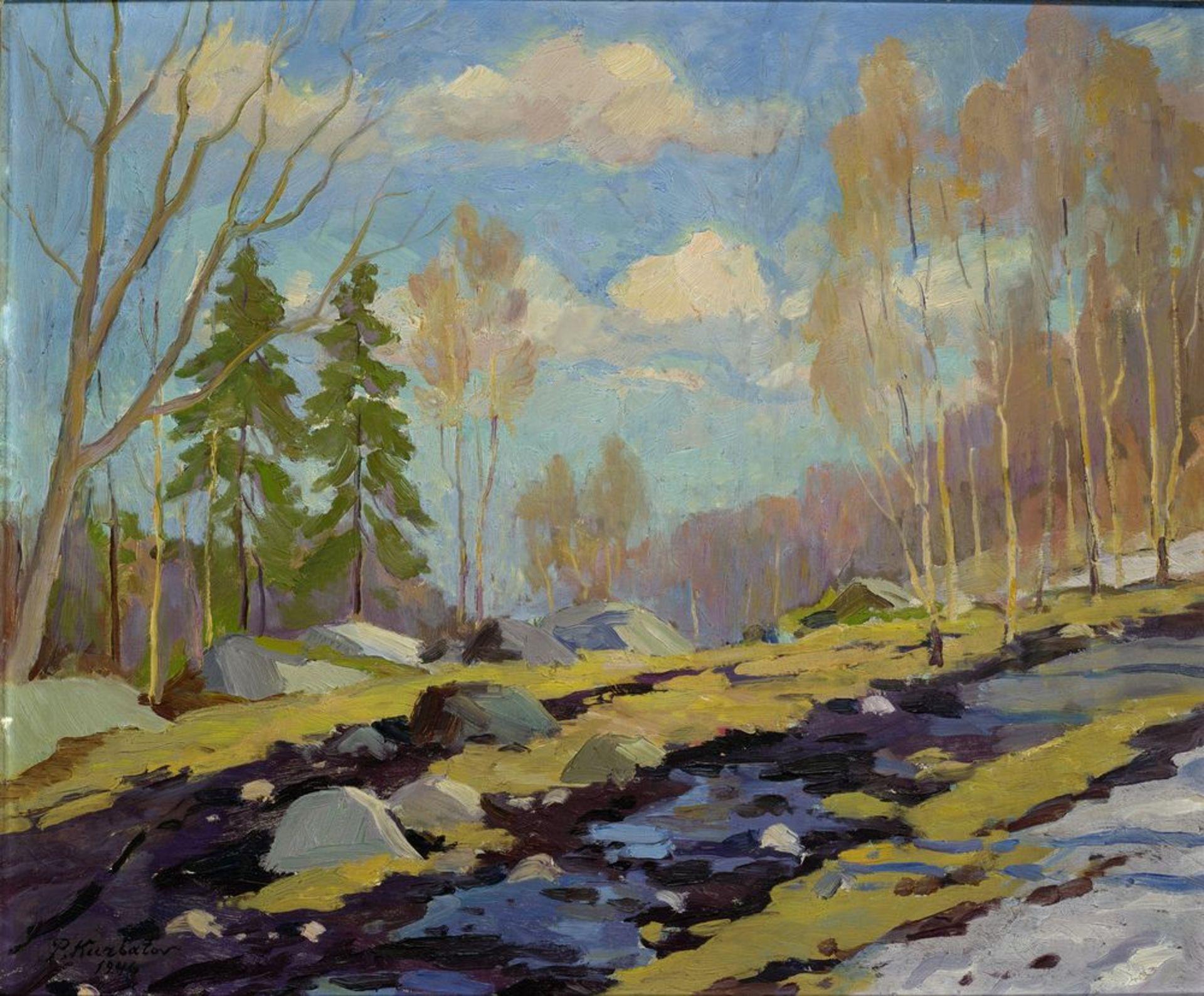 Los 59 - Peter KURBATOV (XX) - Winter landscape signed 'P Kurbatov 1946' (lower left) oil on [...]