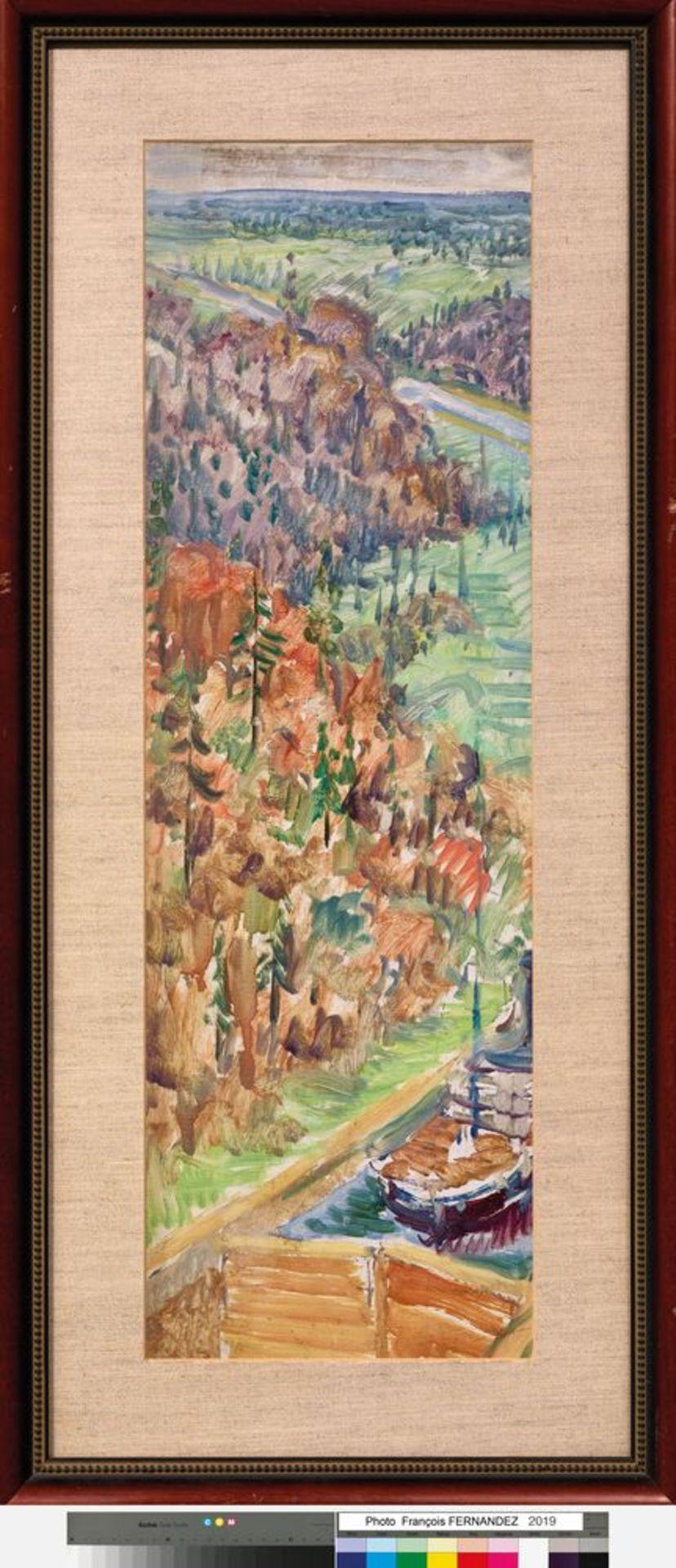 Los 26 - ILYA I. MASHKOV (1881-1944) - Moscow-Volga Canal. 1935. Oil on cardboard 73 x 26.5 [...]