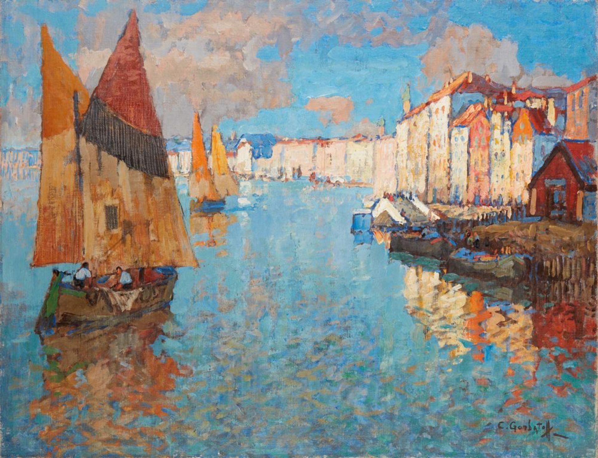 Los 15 - KONSTANTIN IVANOVICH GORBATOV (1876-1945) - View of Chioggia, Venice oil on canvas [...]