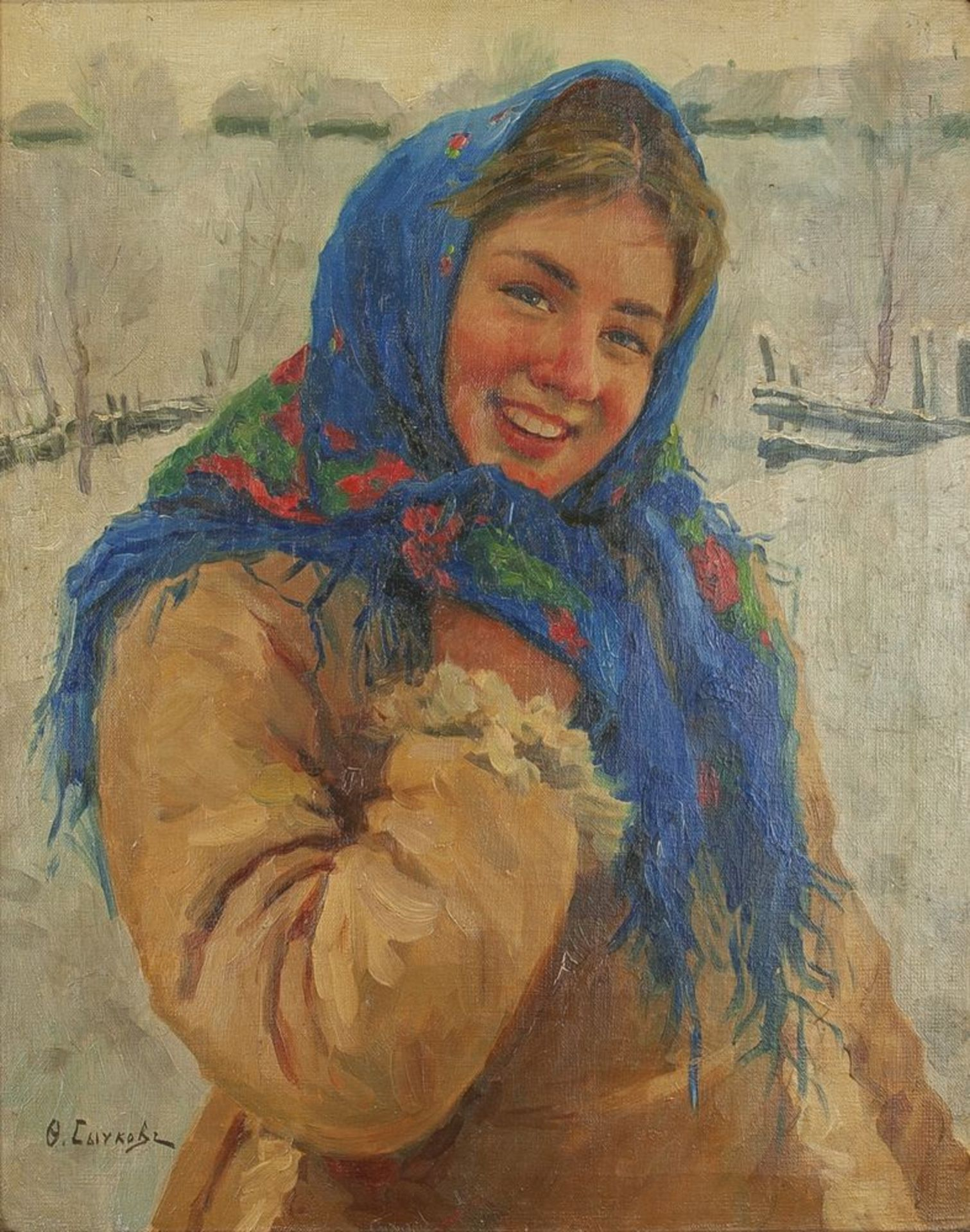 Los 5 - Fedot Vasilievich Sychkov (1870-1958) - Girl With Scarf Signed in Cyrillic 'Ф. [...]