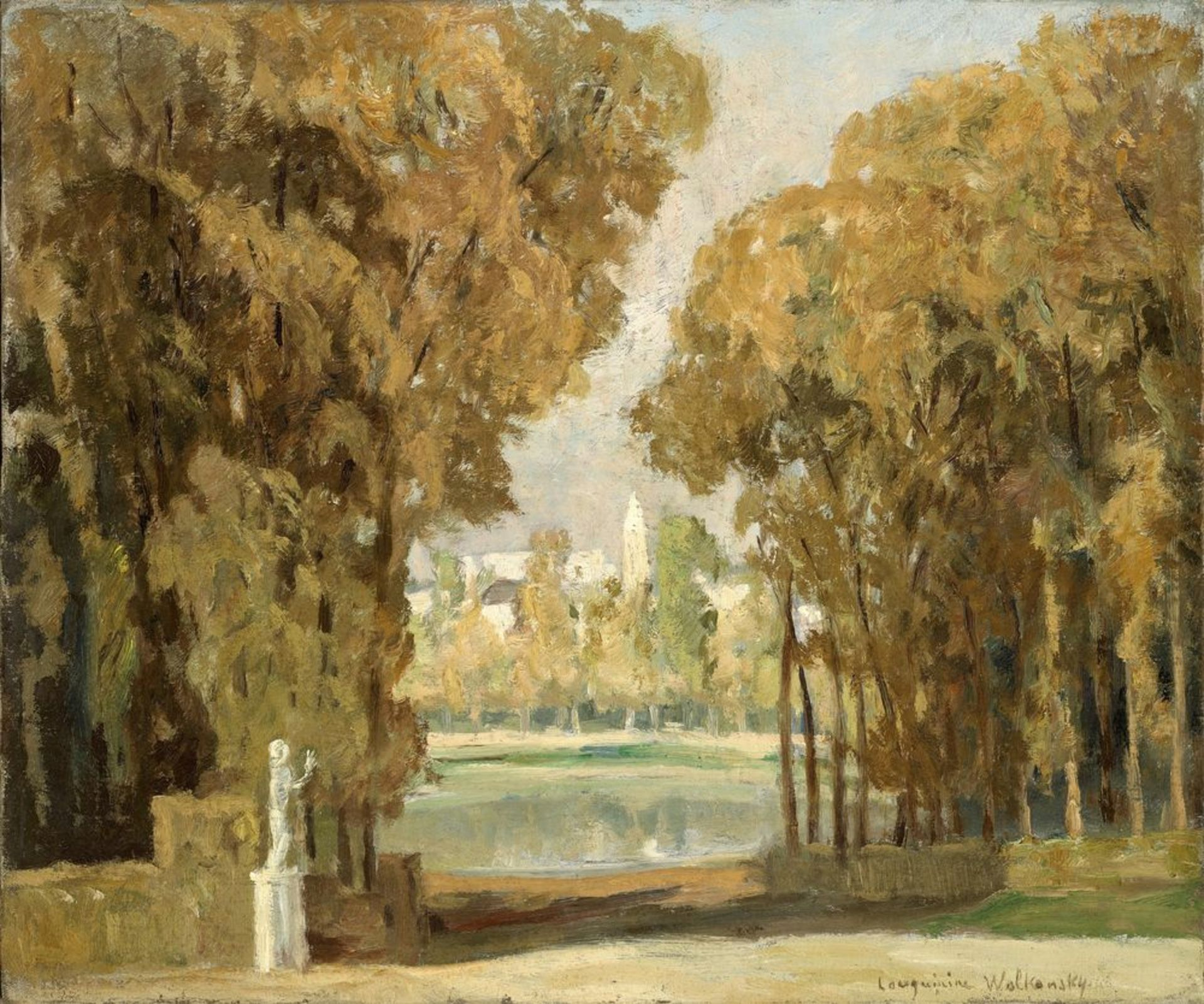 Los 49 - Marie LOUGUININE-WOLKONSKY (1875-1960) - Park in early fall signed 'Louguinine [...]