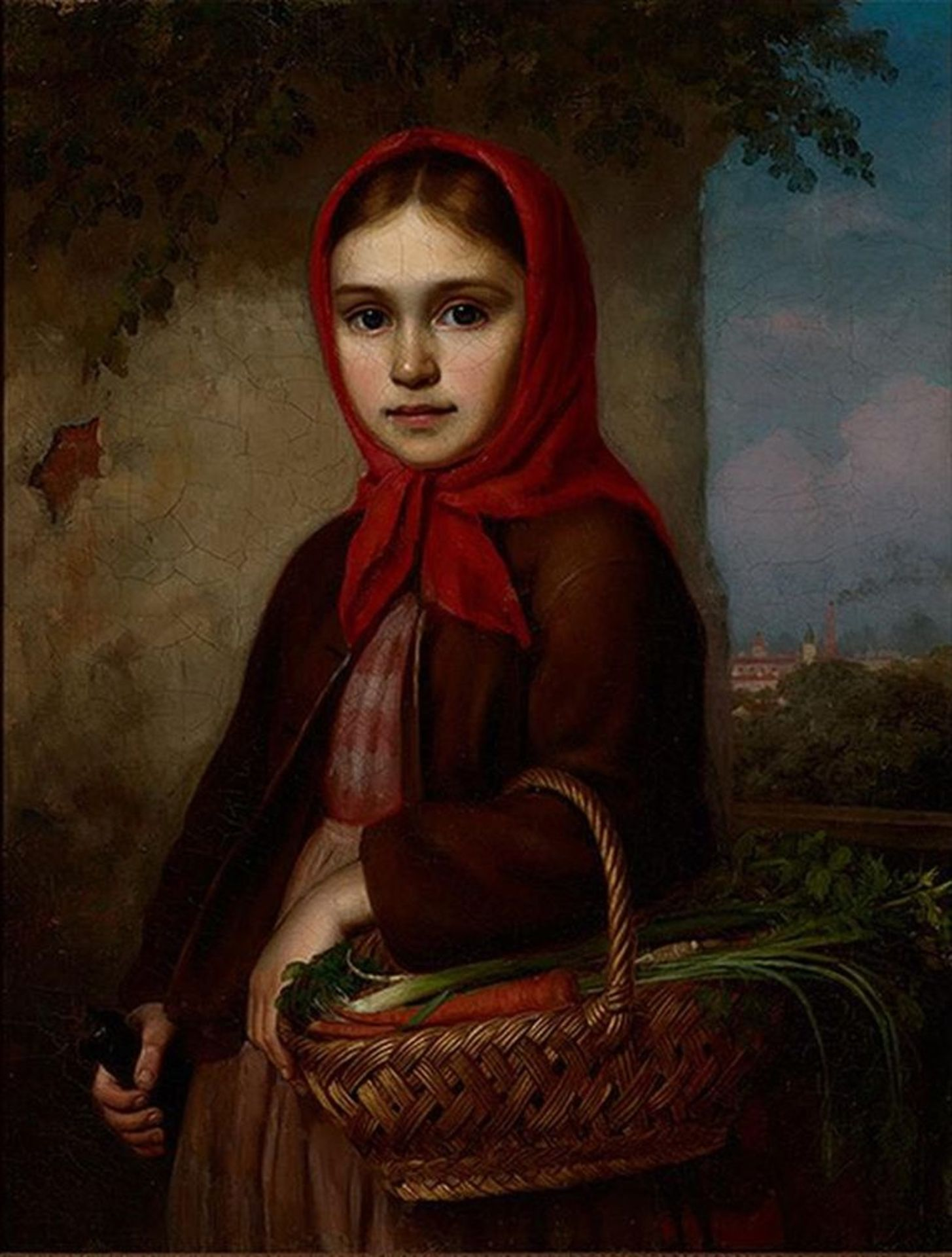 Los 41 - Vasilii Timofeevich TIMOFEEV (1835-1914) - Russian Girl with a Basket of Vegetables, [...]