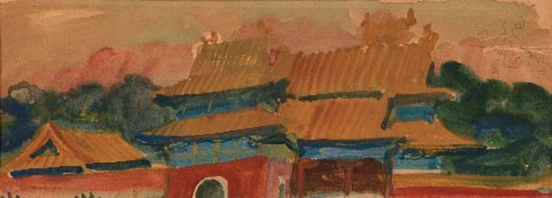 Los 46 - ALEXANDER YAKOVLEV (1887-1938) - Pagoda Roofs Gouache and watercolout on paper 13.5 [...]