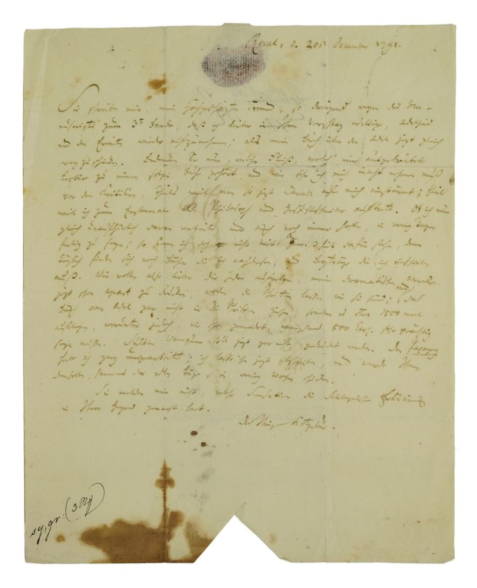 Los 10 - KOTZEBUE AUGUST (1761-1819), AUTOGRAPH A handwritten letter addressed to his [...]