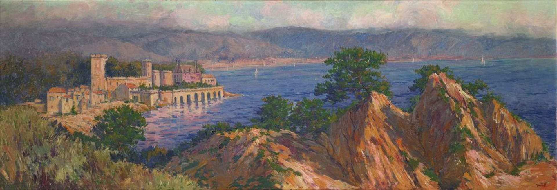 Los 51 - Alexandre ISAILOFF (1869-?) - Town by the Mediterranean sea signed 'Iailoff' (lower [...]
