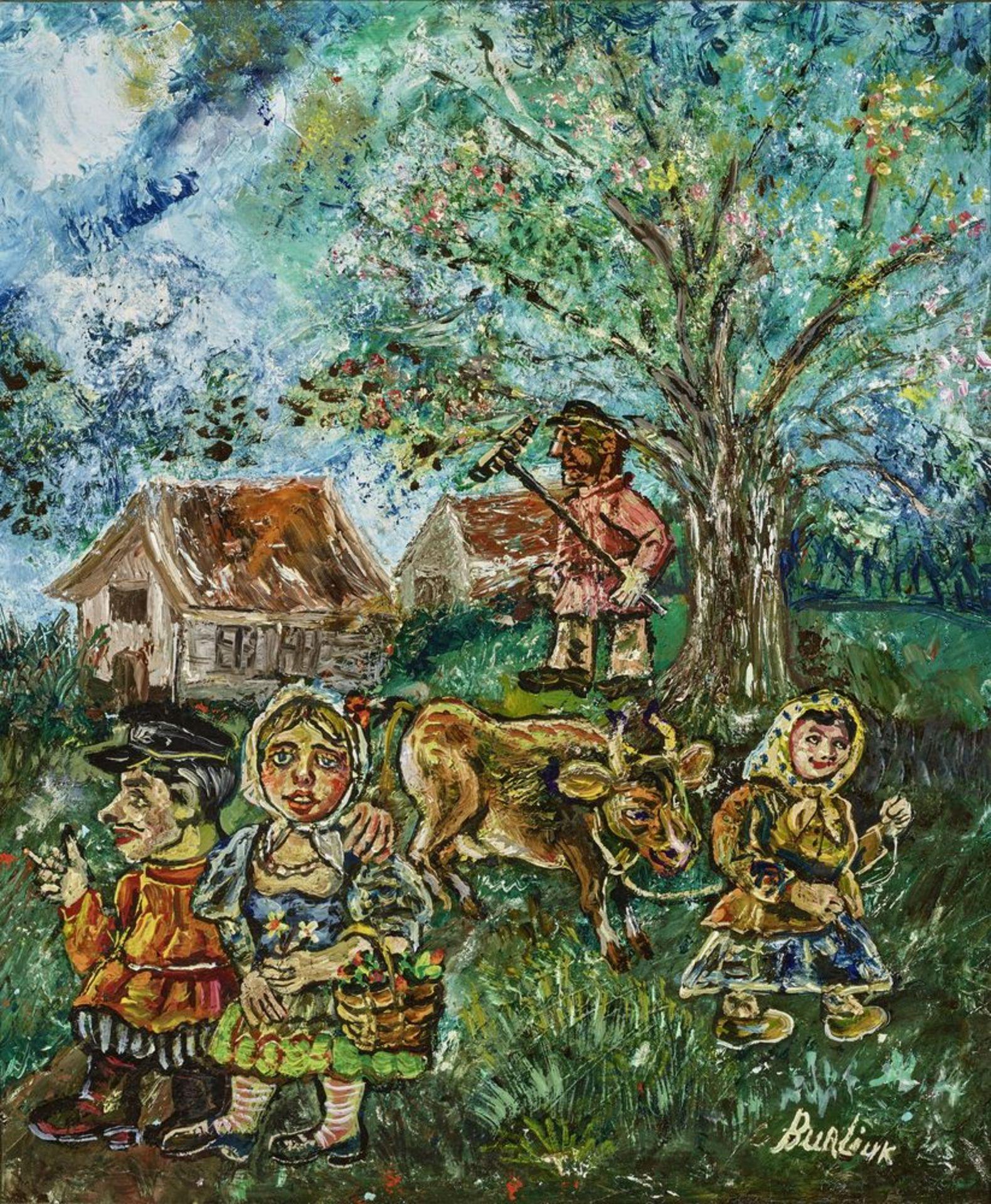 Los 25 - David Burliuk (1882 – 1967) - Russian peasants in spring signed 'Burlyuk' (lower [...]
