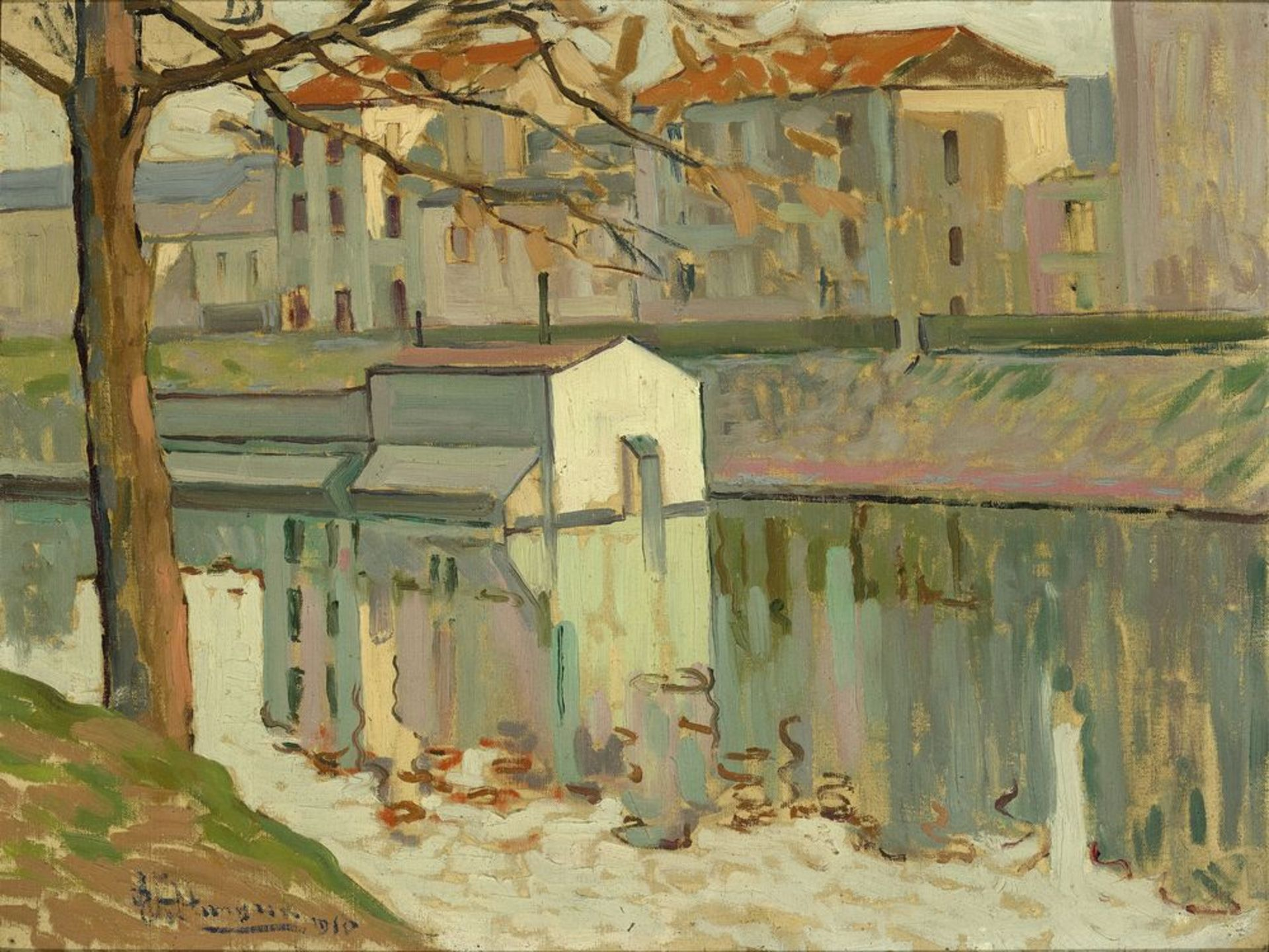 Los 36 - Natan Isaevich ALTMAN (1889-1970) - Channel embankment signed and dated 'Altman [...]