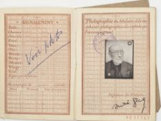 GIDE (ANDRÉ). 1869-1951. Passport signed with photographic portrait and 3 pieces [...]