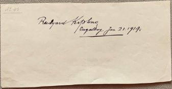 KIPLING RUDYARD. 1865-1936. Autograph sheet - Signed and dated. Engelberg. [...]