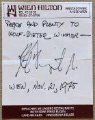 """VONNEGUT KURT. 1922-2007. Autograph - Autograph signed on the blanc paper of """"Wien [...]"""