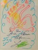 LIFAR SERGE. 1905-1986 Icar. Paper, colored markers. - Signed autograph to «André [...]