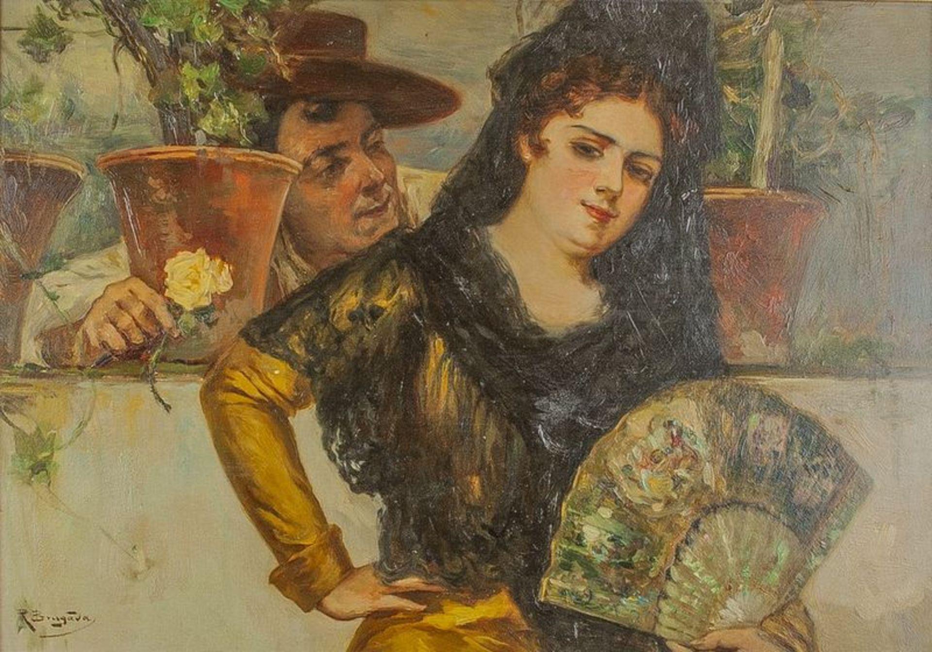 Los 567 - Antonio de Brugada (1804-1863) Espanola - Signed (lower left) Oil on panel 50 x [...]