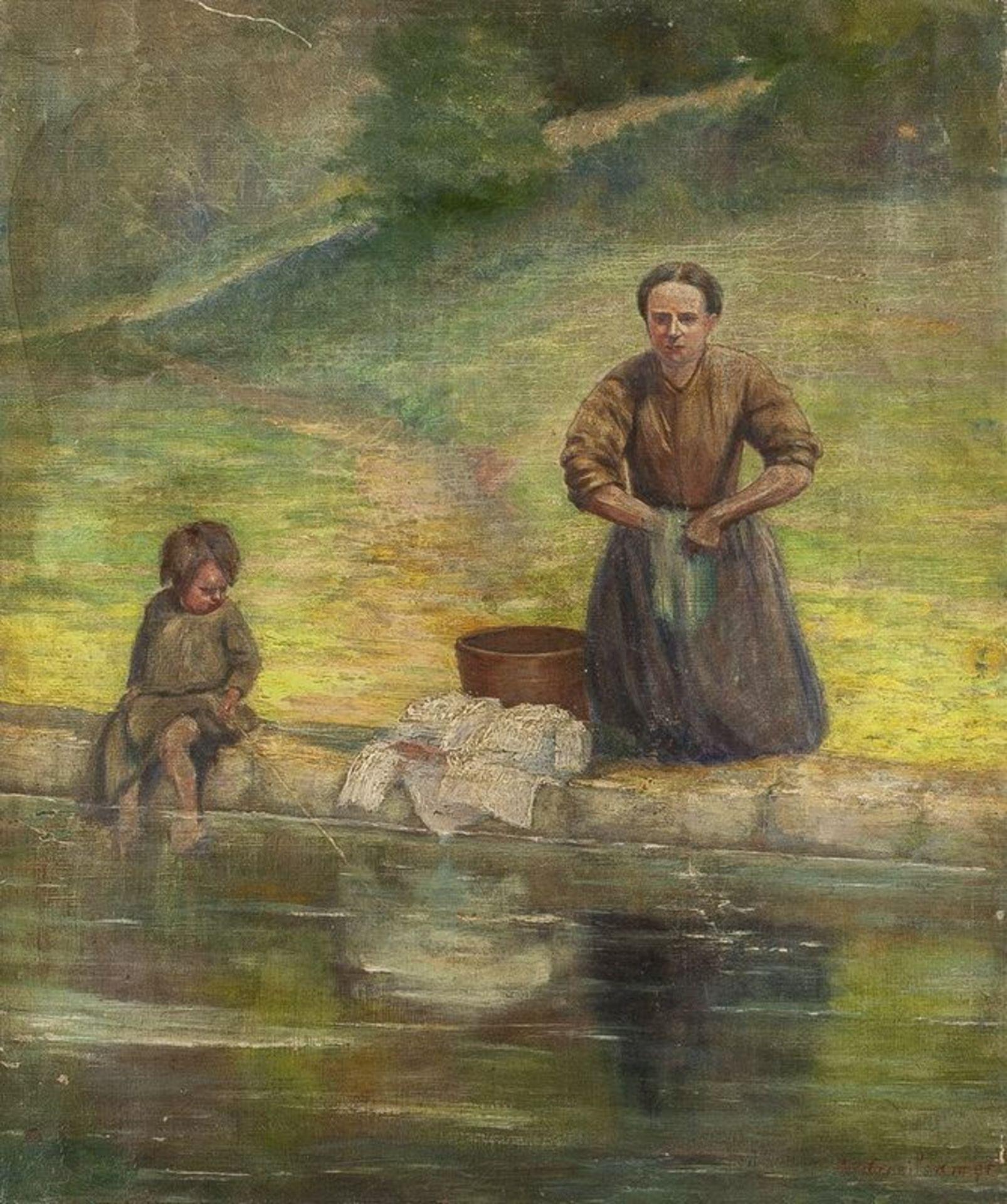 Los 605 - ALPHONSE GREISALMER (XIX-XX) Laundry on the riverside - Signed. 'A. Greisalmer' [...]