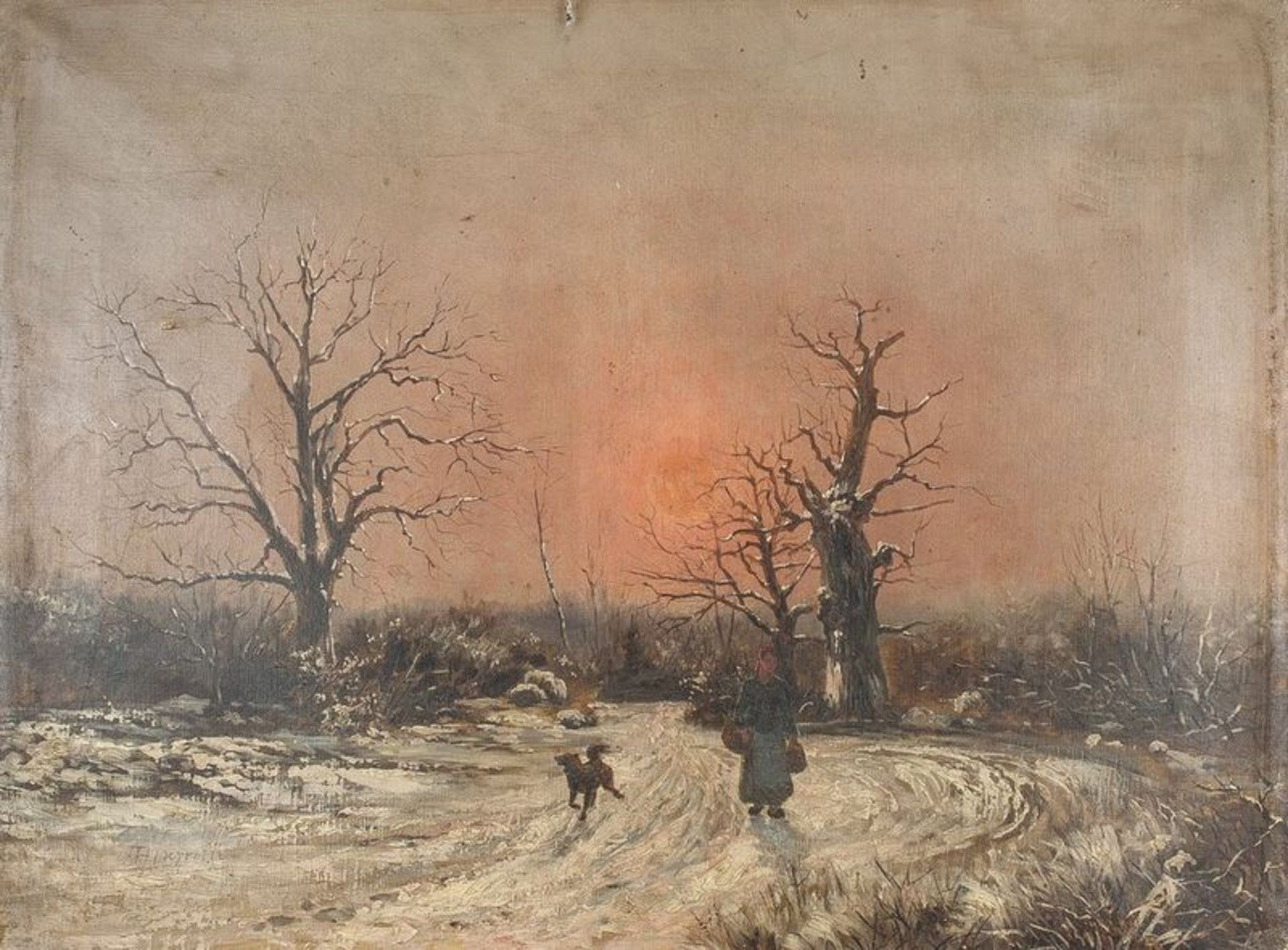 Los 616 - THÉOPHILE LOUIS DEYROLLE (1844-1923) Winter landscape - Signed 'Th Deyrolle ' [...]