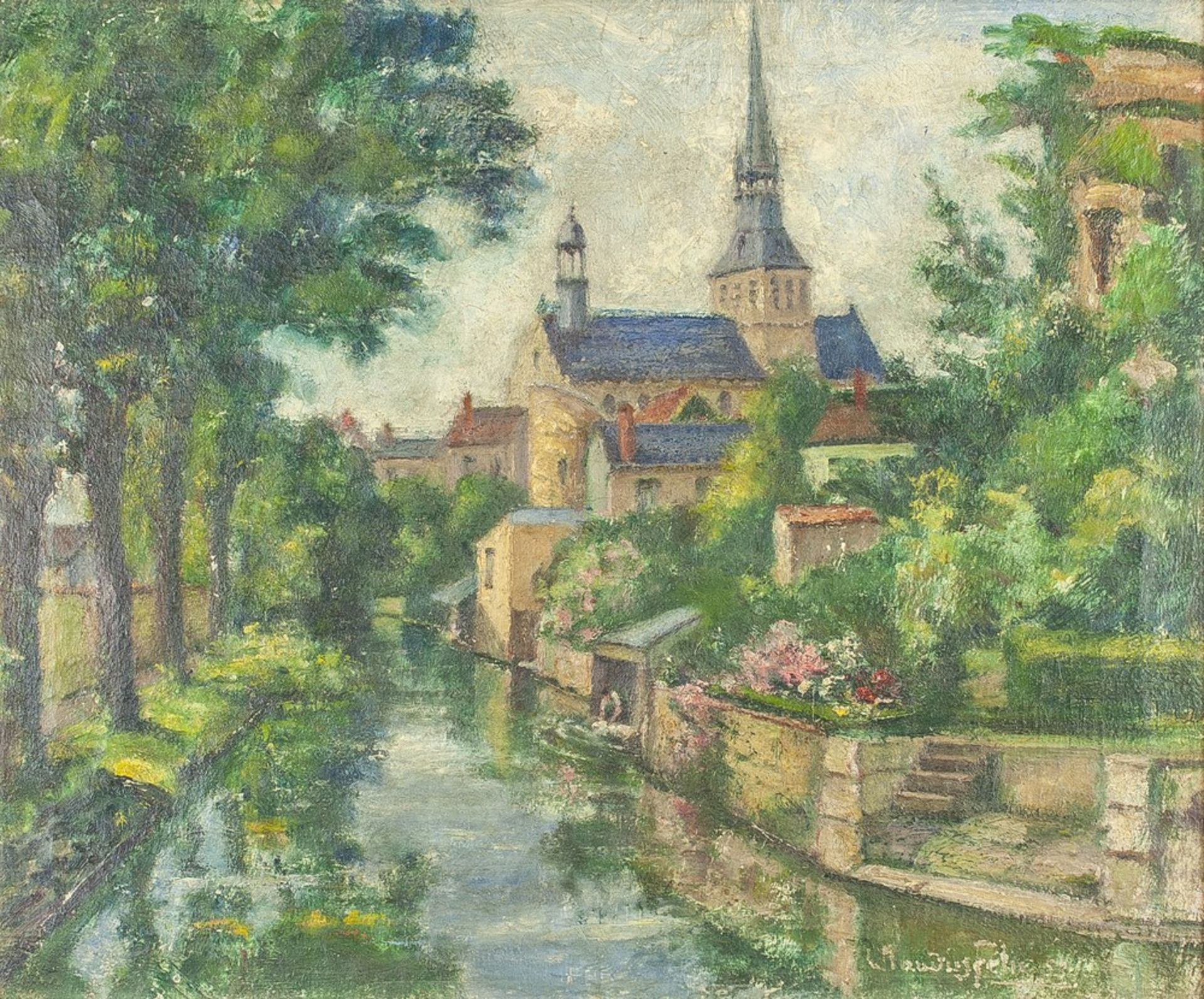 CLAUDIUS FÉLIX (1875-1986) Old town riverside - Signed and dated 'Claudius [...]