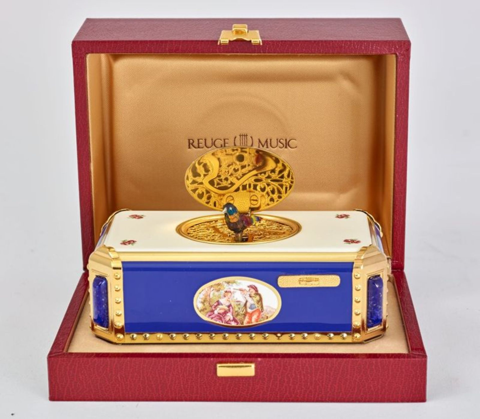 BIRD ROTATING SINGING BOX Enameled music box, Reuge Music Saintes-Croix, [...]