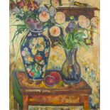 JEAN DREYFUS-STERN (1890-1980) Still life with flowers and peaches - Signed [...]