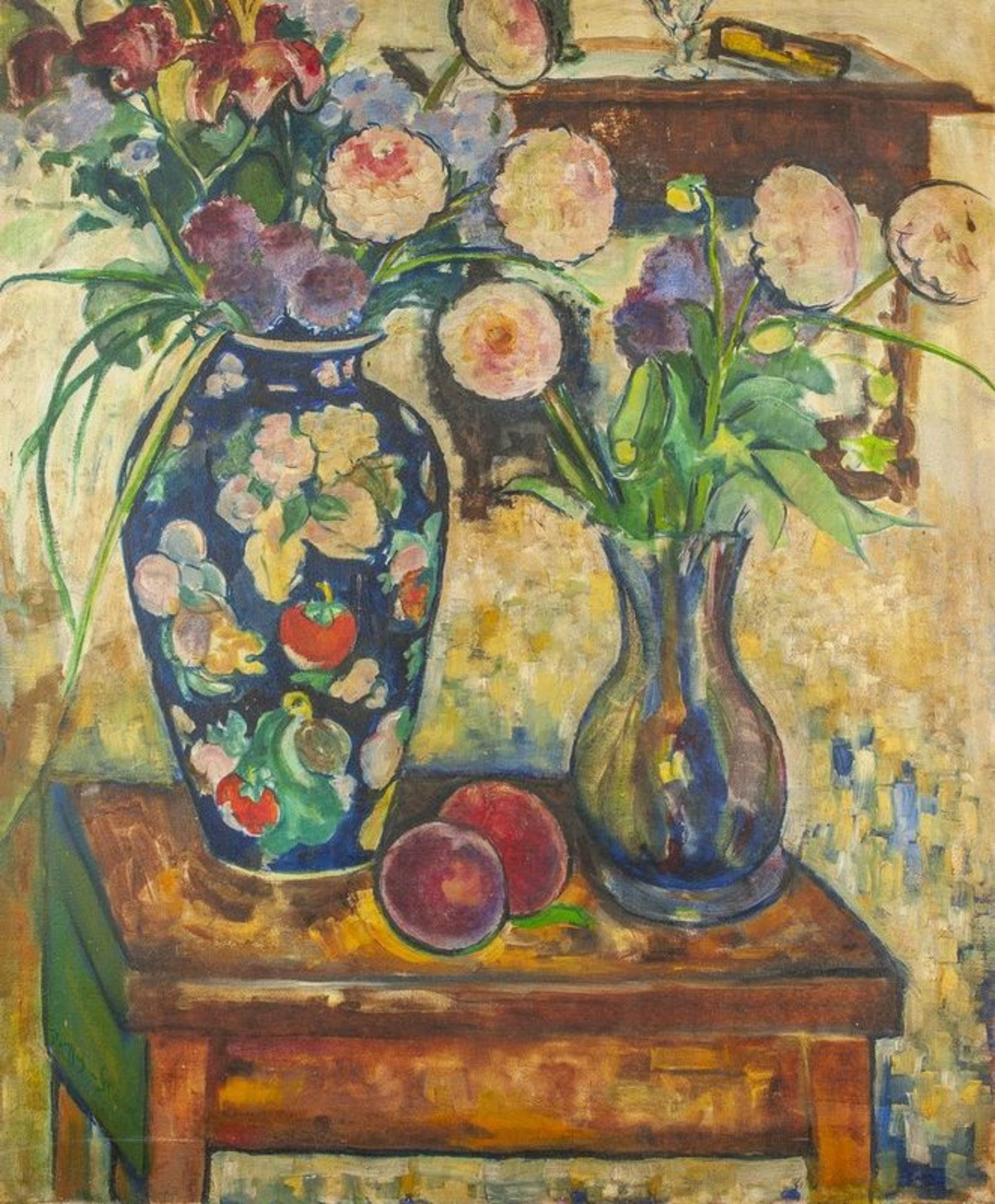 Los 610 - JEAN DREYFUS-STERN (1890-1980) Still life with flowers and peaches - Signed [...]