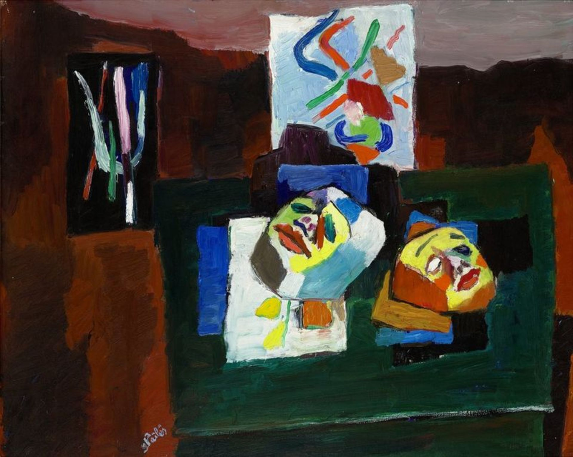 Los 538 - Isaac PAILES (1895-1978) Still life with masks - signed 'Pailles' (lower [...]