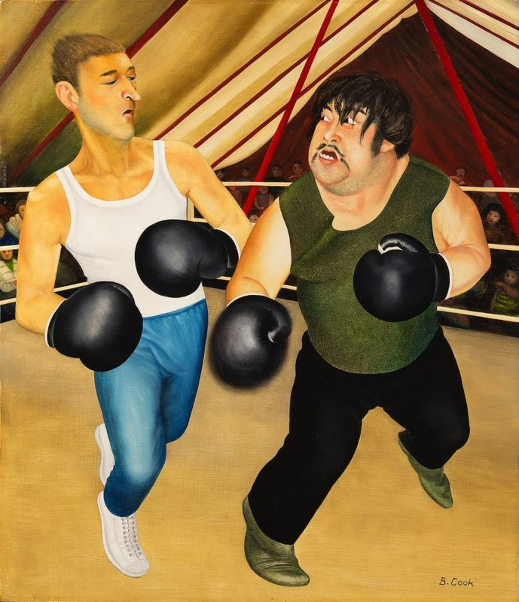 Los 535 - BERYL COOK OBE (1926-2008) Knockout - Oil on board Signed lower right 'B [...]