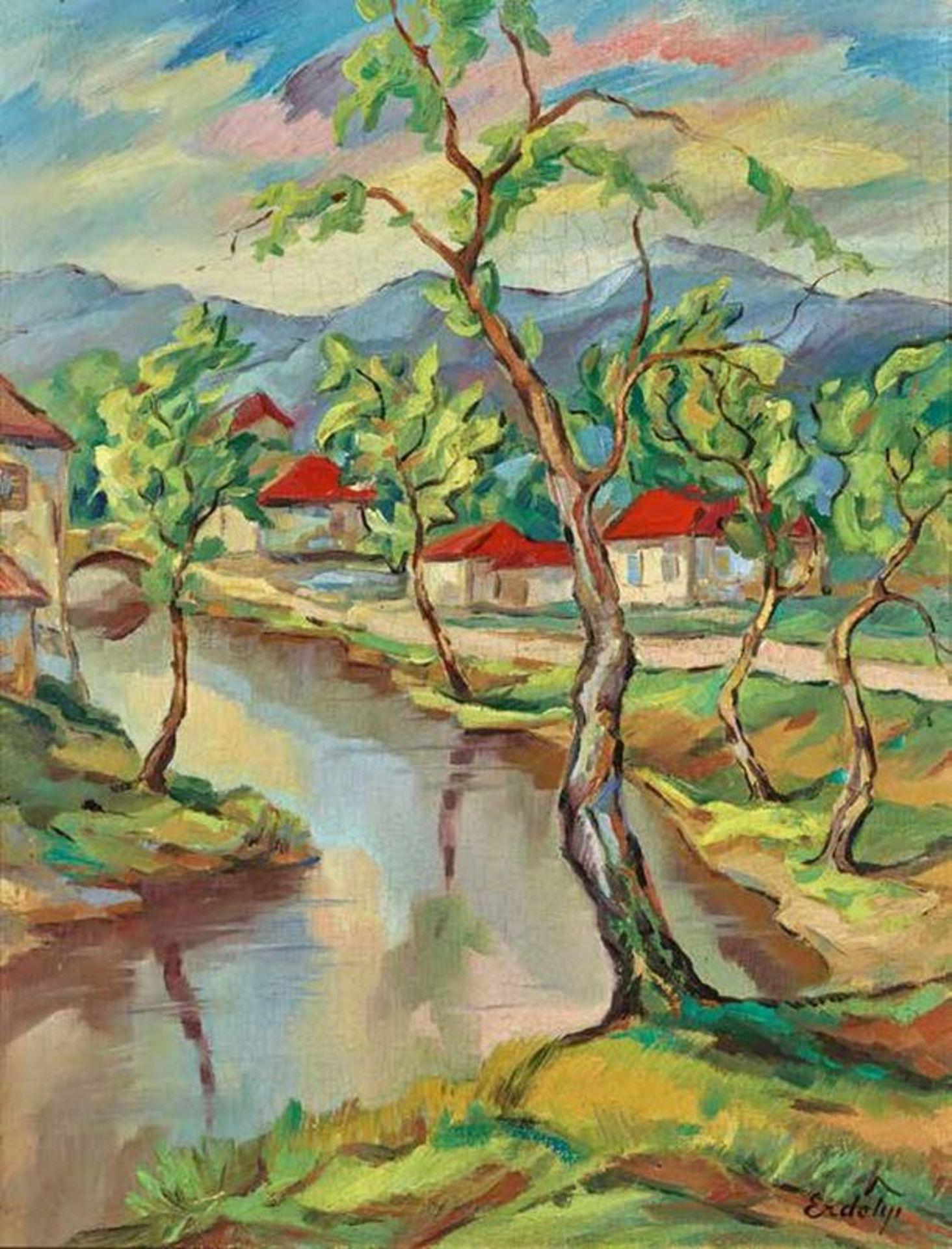 Los 557 - Bela ERDELYI (1891-1955) Landscape with red roofs - Signed Erdelyi (lower [...]
