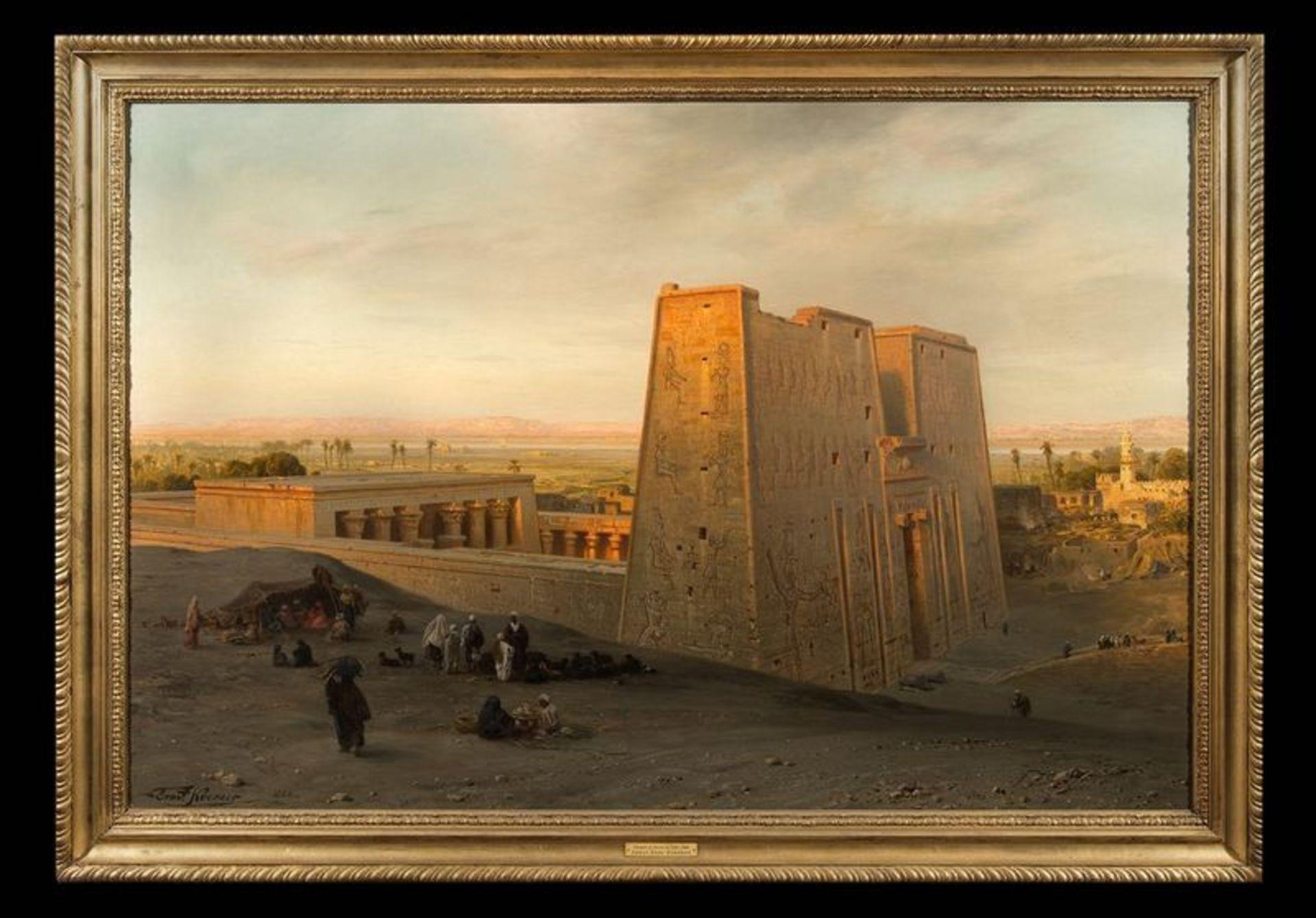 Los 523 - ERNST KARL KEORNER (1847-1909) Temple of Horus at Edfu, 1888 - Signed Oil on [...]