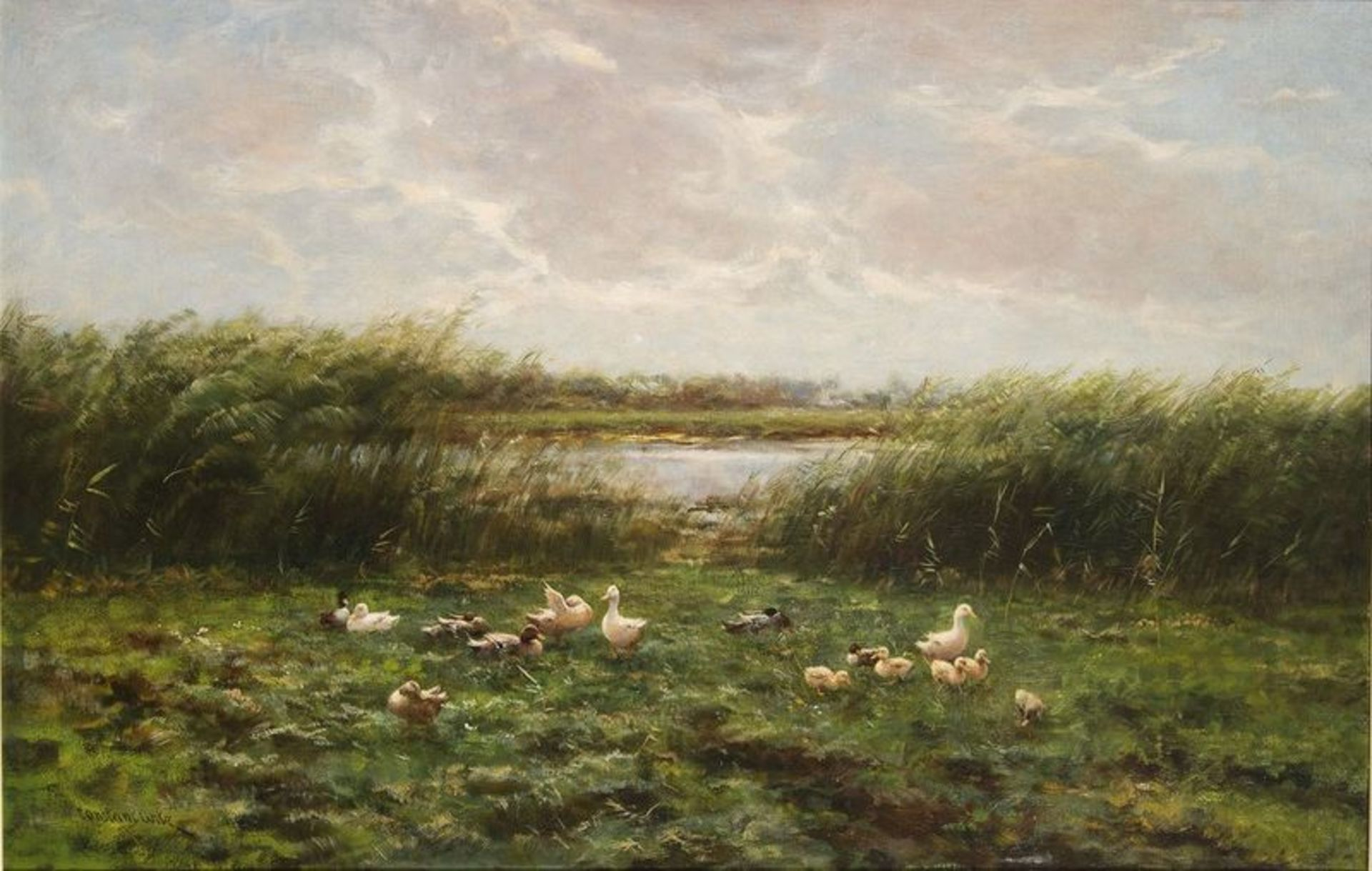 Los 517 - CONSTANT DAVID LUDOVIC ARTZ (1870-1951) Ducks and Ducklings at the Waters Edge - [...]