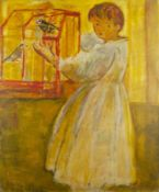 SIMON CLAUDE VANIER (1903-1958) Girl with a cage with birds - Signed 'Varnier' [...]