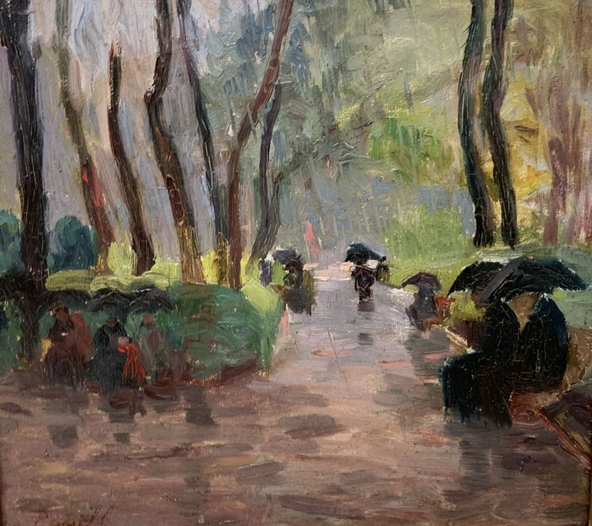 Los 542 - Elie Anatole PAVIL (1873-1948) At the park in the rain - Signed (lower left) Oil [...]