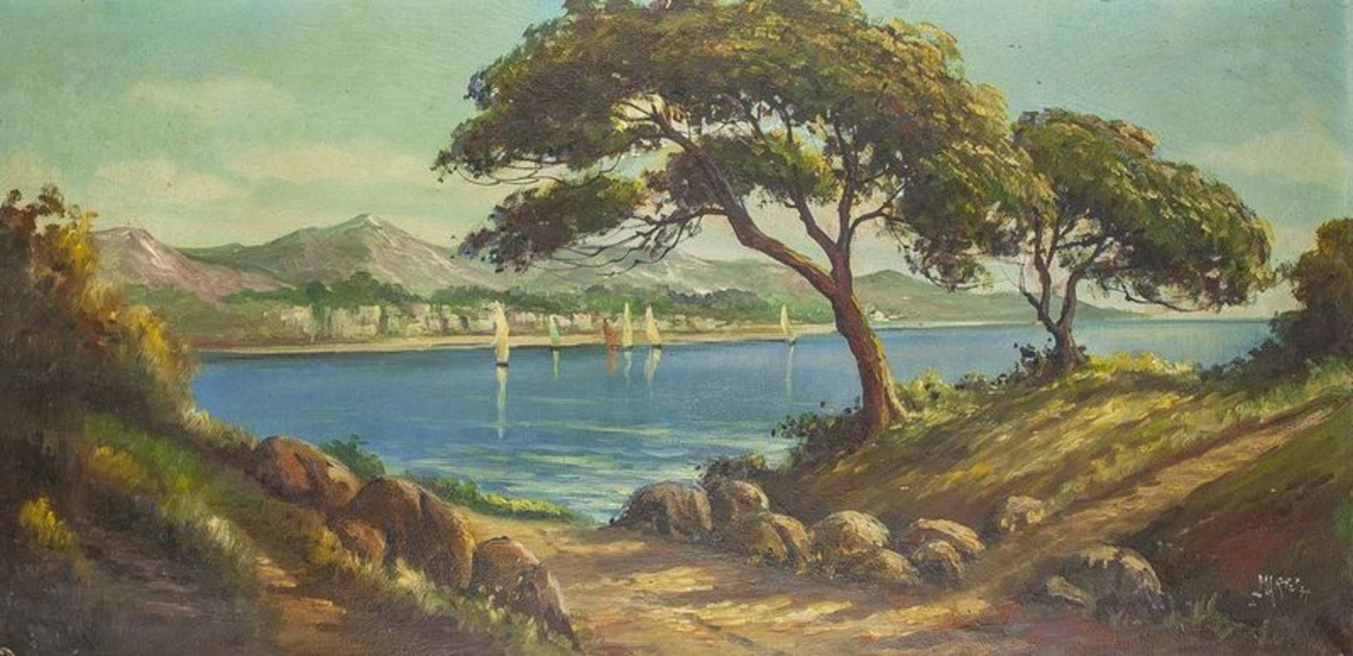 Los 597 - French School, XX century View of Cote d'Azur - Indistinctly signed 'Martel' [...]