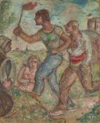 YVONNE DEGUÉRET (XIX-XX) Double painting: Men with a torch Portrait of a man on [...]