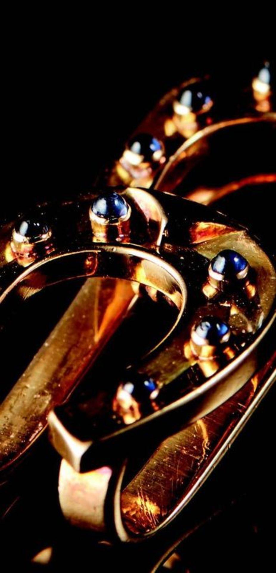 VINTAGE VAN CLEEF & ARPELS TIE PIN / MONEY CLIP WITH SAPPHIRES - 18k gold, cabochon [...]