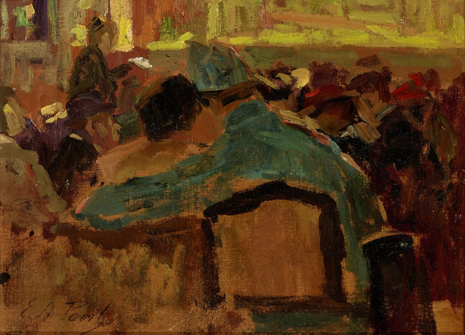 Los 540 - Elie Anatole PAVIL (1873-1948) At the cafe - Signed (lower left) Oil on panel 16 [...]