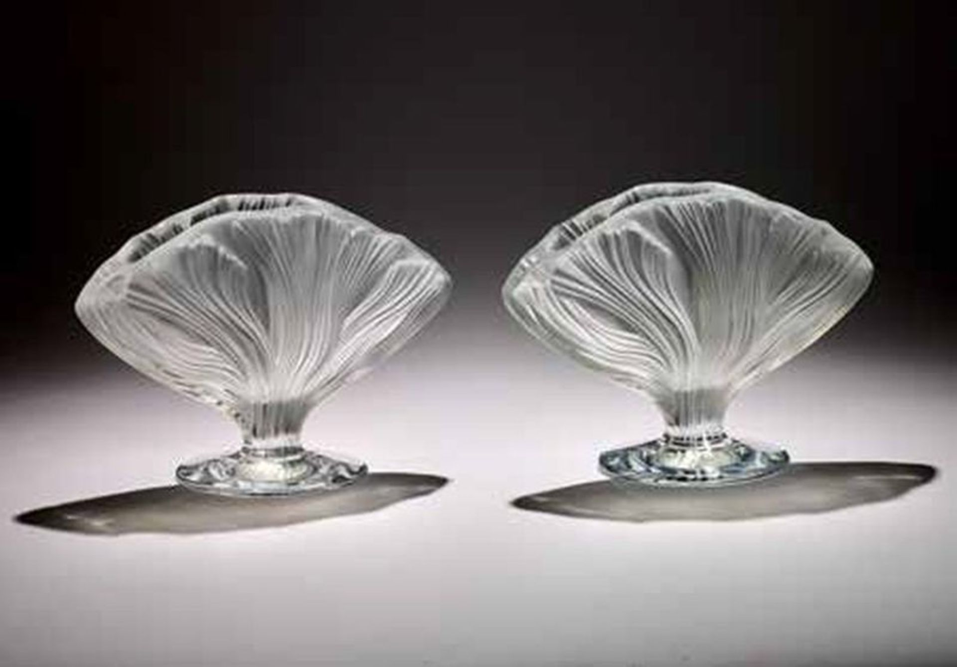PAIR OF CRYSTAL VASES, LALIQUE FRANCE - Pair of Ichor vases in fine crystal, clear [...]