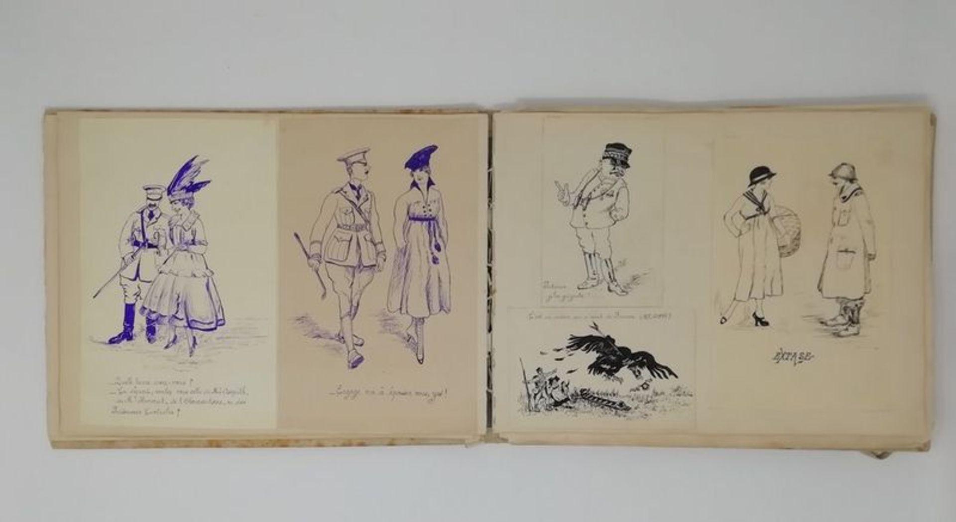 Los 568 - Album of 40 original Art Deco drawings and watercolours of charms, humorous [...]