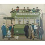 Jan BALET (1913-2009) In a bus - Signed (lower right) Oil on gauze laid on [...]